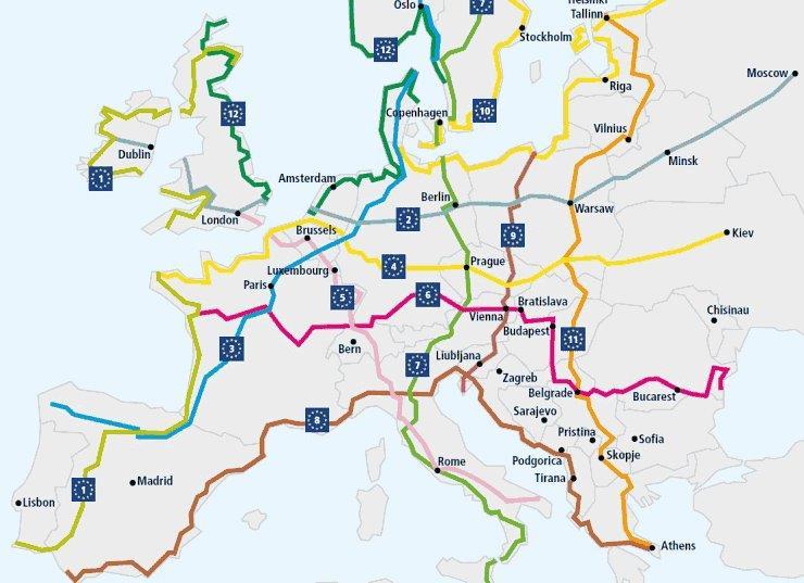 EuroVelo térkép
