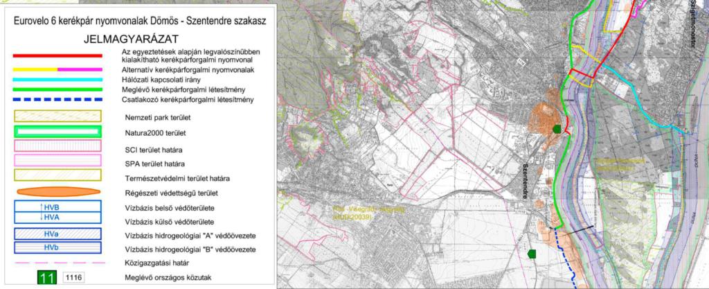 Kerékpárforgalmi létesítmények tervezése az Eurovelo 6 kerékpáros útvonal Dömös – Szentendre szakaszán