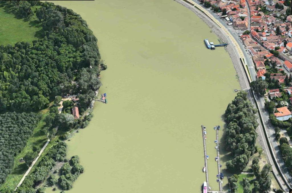A Szentendre belvárosi hídépítés helyszíne